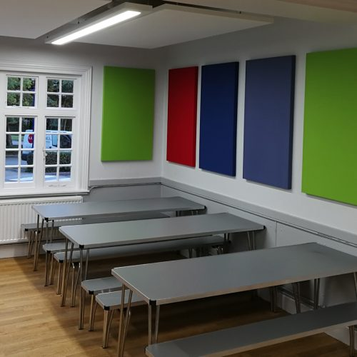 sound proof panelling in school canteen