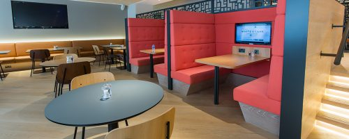 red booth seating area, commercial kitchen design and install by ceba solutions