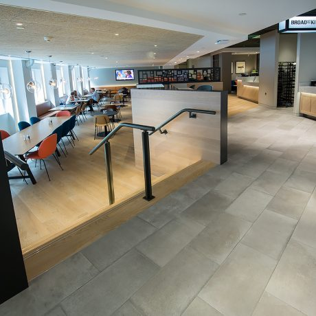 restaurant design, walk way and flooring by seating area