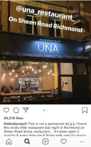 A screen shot of The Body Coaches instagram account which shows the front of the restaurant UNA in Richmond