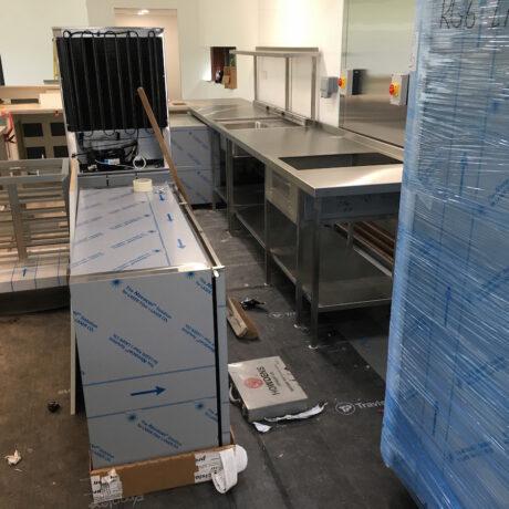 cafe kitchen being installed