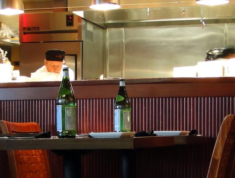 open kitchen in restaurant